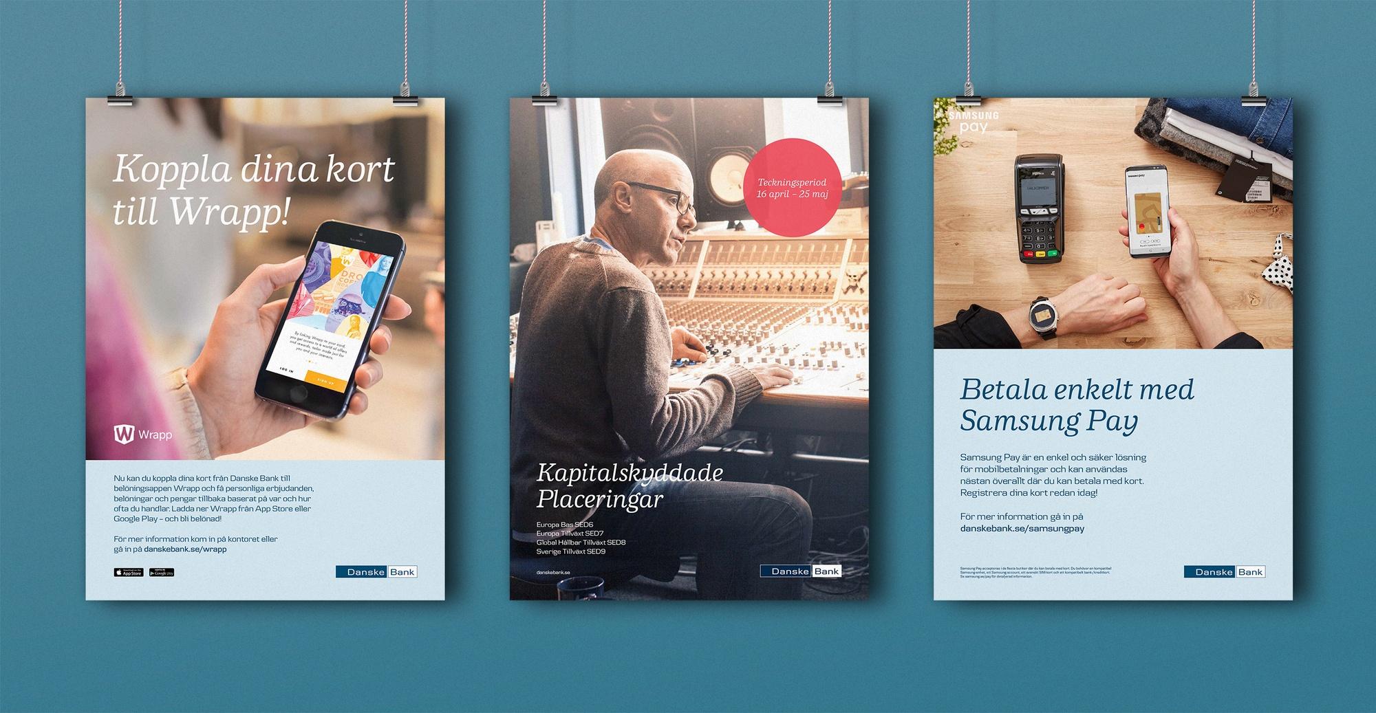 Mockup av 3 postrar för Danske bank