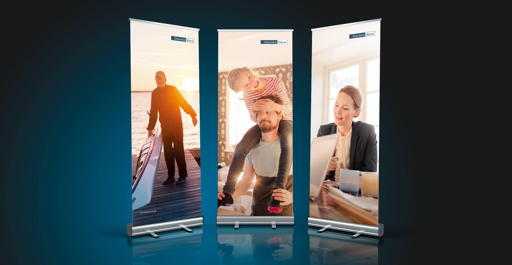 Mockup av tre rollups för Danske Bank