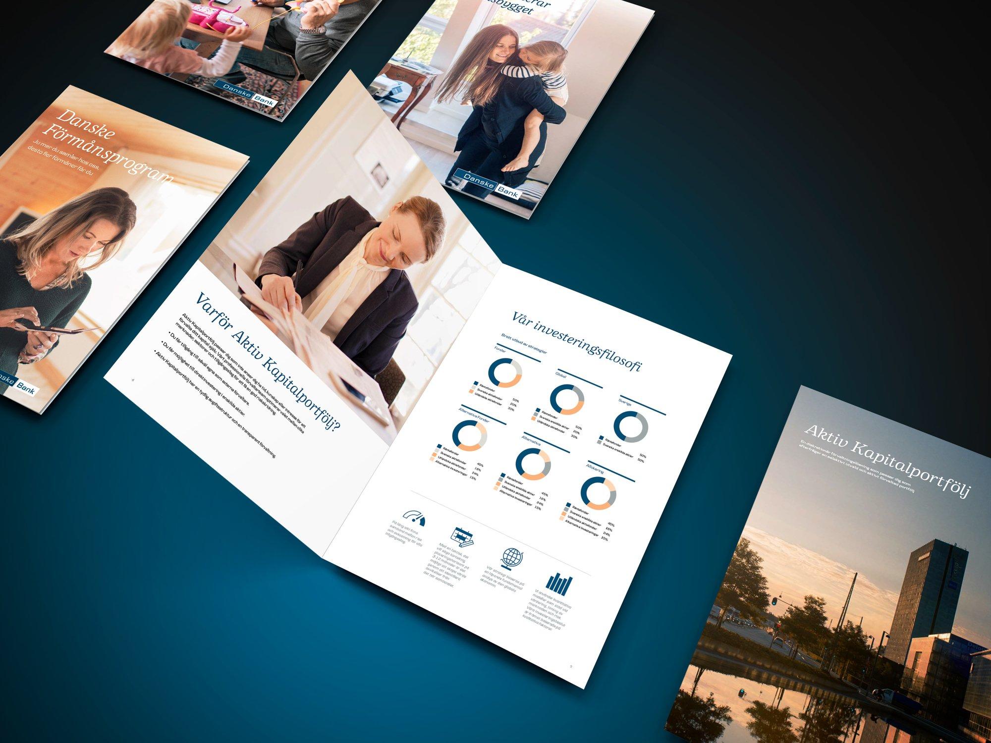 Mockup av broschyrer för Danske Bank