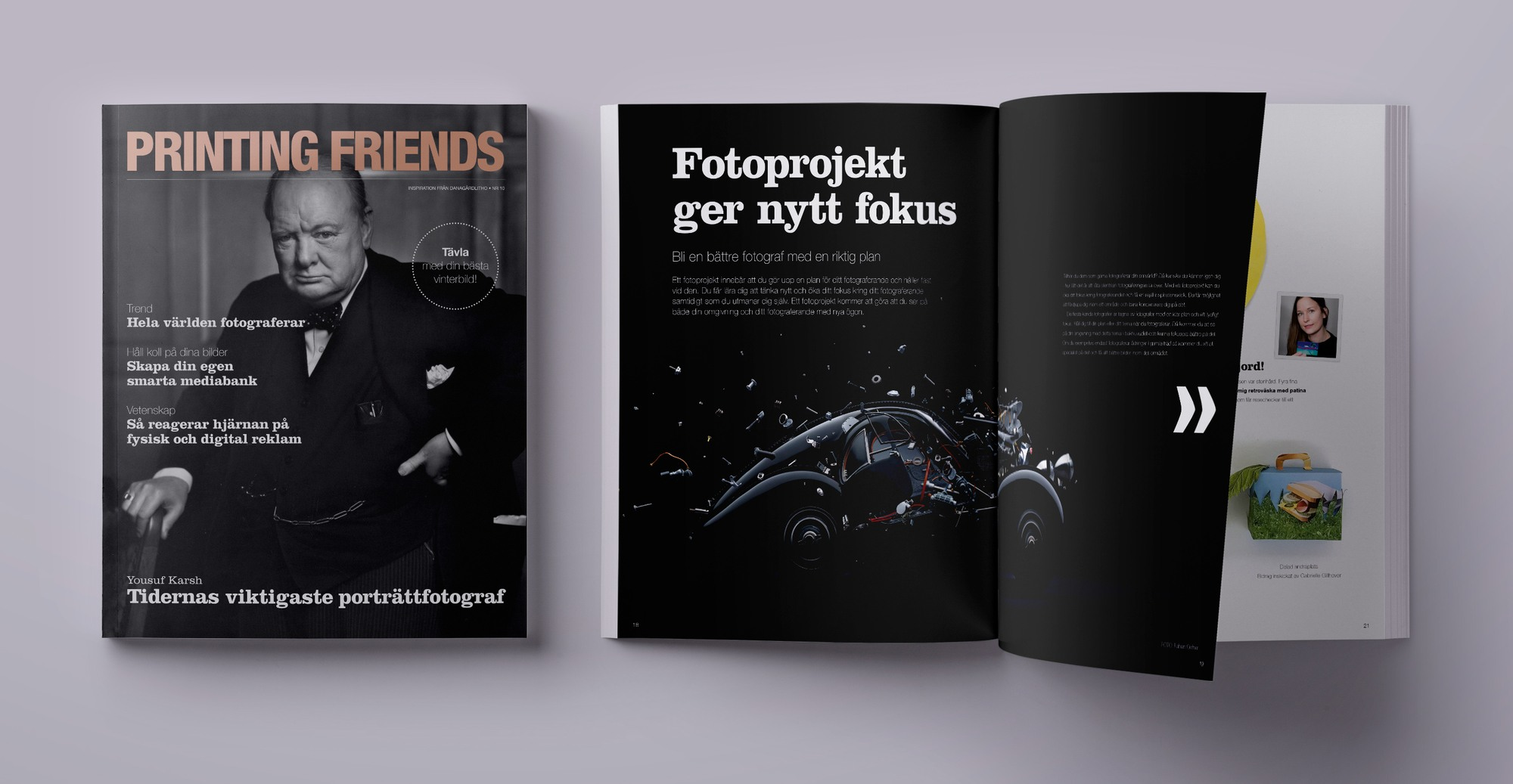 Mockup av kundmagasinet Printing Friends