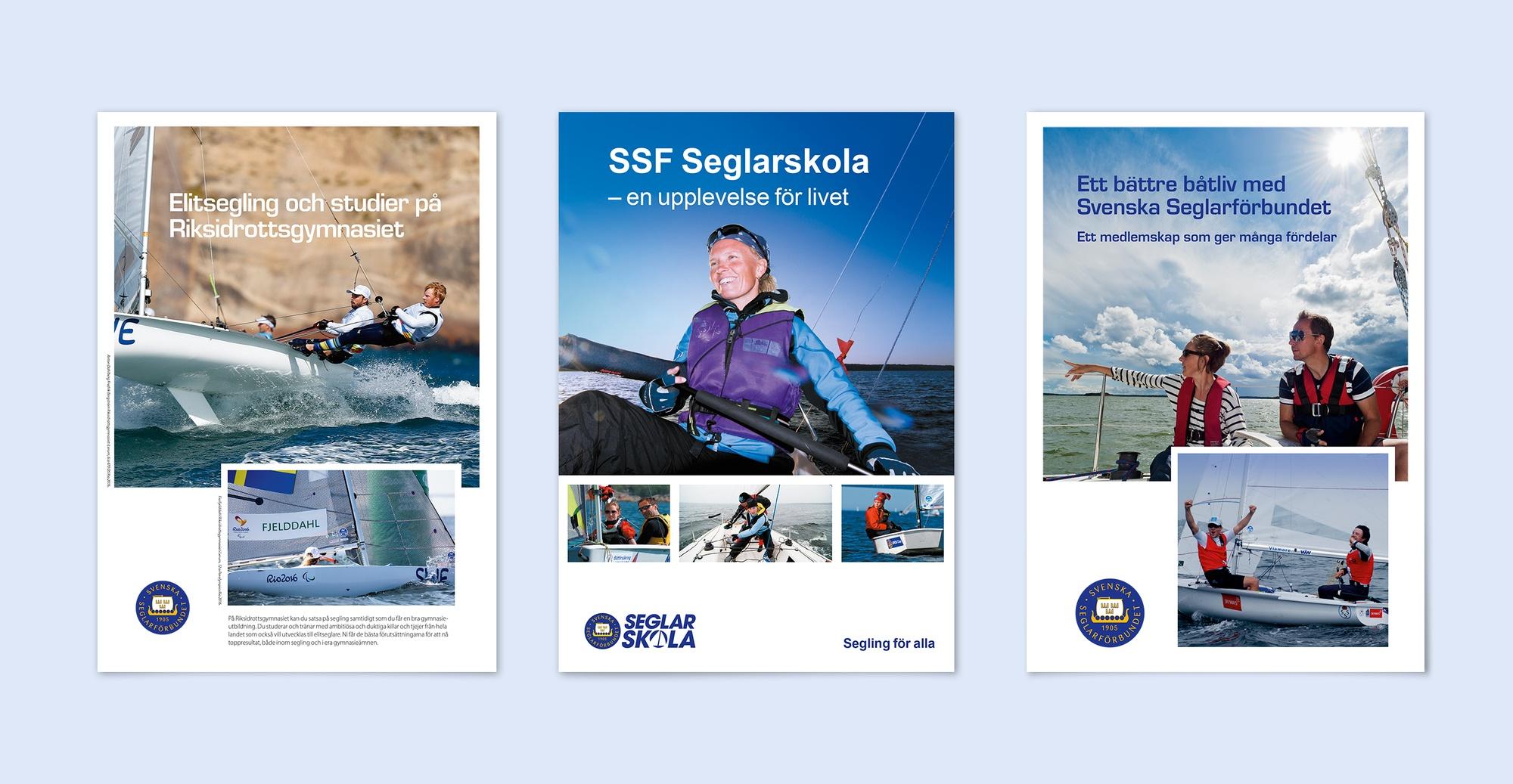 Mockup av foldrar för Seglarförbundet